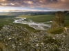 Canada, Yukon, Ivvavik NP, Arctic summer sunset over the Firth River from the Muskeg Creek Tors